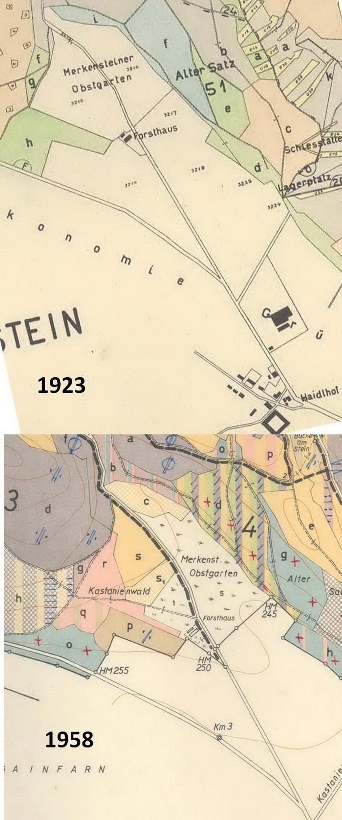 """Karten vom Merkensteiner """"Obstgarten = """"Kastanienwald"""" 1923 und 1958"""